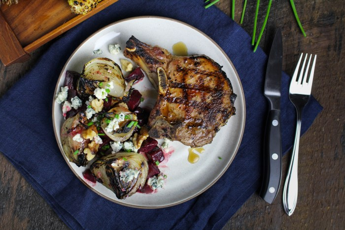 Grilled Maple-Brined Pork Chops with Grilled Sweet Onions and Buttered Beets {Katie at the Kitchen Door}