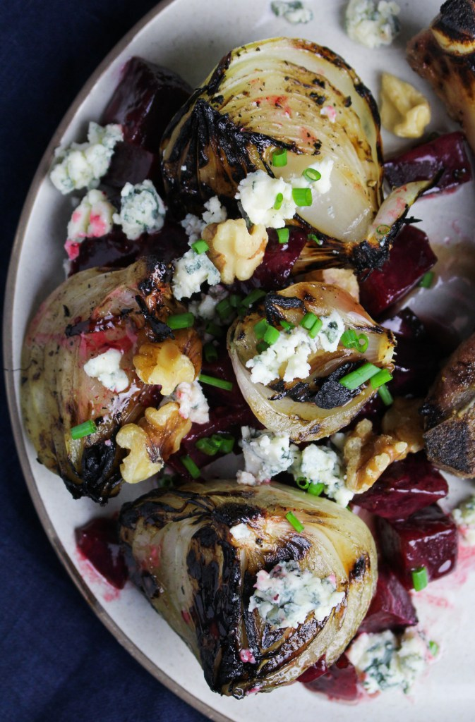 Grilled Sweet Onions with Buttered Beets and Blue Cheese {Katie at the Kitchen Door}