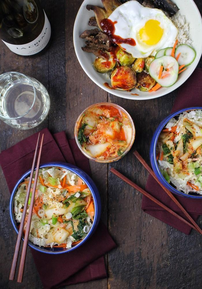 Korean-Inspired Dinner: Autumn Bibimbap, Cabbage and Kimchi Salad {Katie at the Kitchen Door}