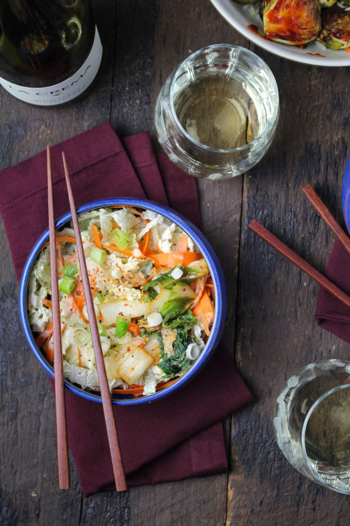 Cabbage and Kimchi Salad with Sesame-Miso Dressing {Katie at the Kitchen Door}