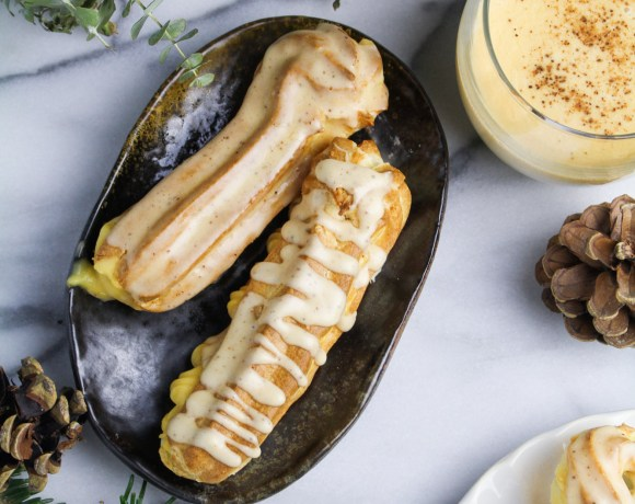 Spiked Eggnog Eclairs with Nutmeg Glaze