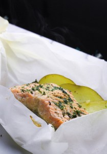 Salmon en Papillote with Potatoes and Dill Butter {Katie at the Kitchen Door}