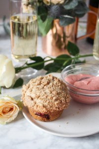 Rhubarb and Rye Streusel Muffins with Rhubarb Curd {Katie at the Kitchen Door}