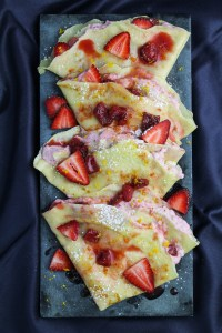 Strawberry and Meyer Lemon Crepes - filled with Strawberry Mascarpone Cream {Katie at the Kitchen Door}