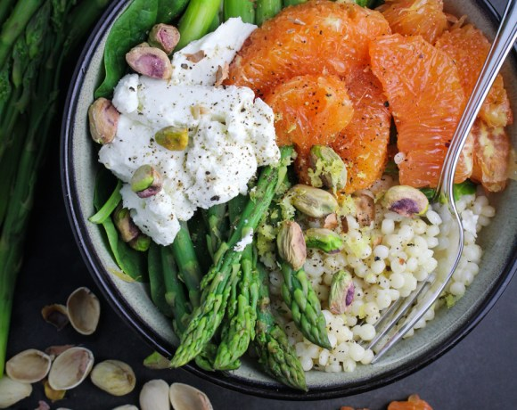 Lemony Israeli Couscous with Asparagus, Oranges, and Goat Cheese