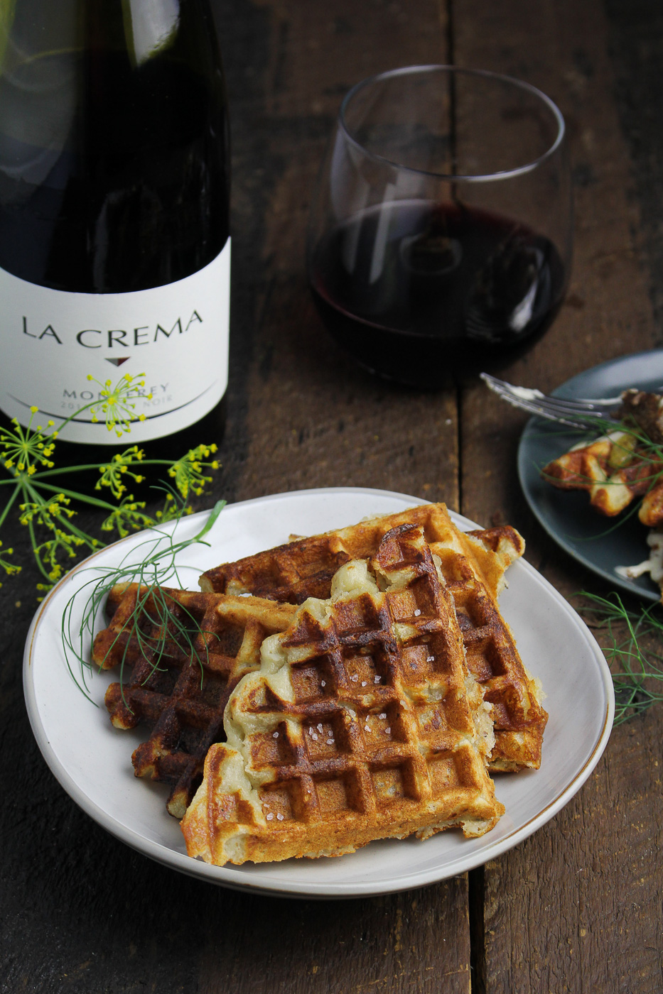 Mashed Potato Waffles {Katie at the Kitchen Door} - sponsored by La Crema Wines