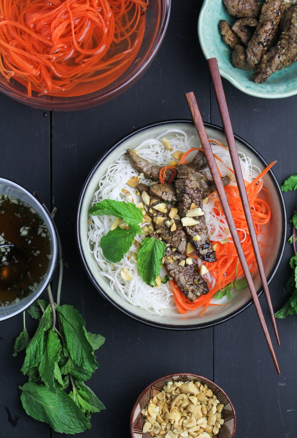 Bún Bò Xào - Vietnamese Rice Noodle Salad with Lemongrass Beef