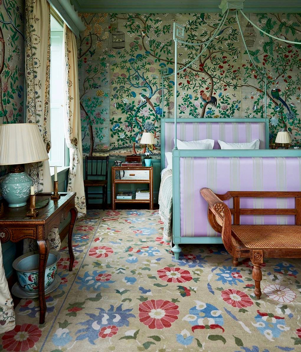 How to Decorate Your Home in the English Country House Style   Katie     English Country House Bedroom with Chinoiserie Wallpaper and a Canopy Bed