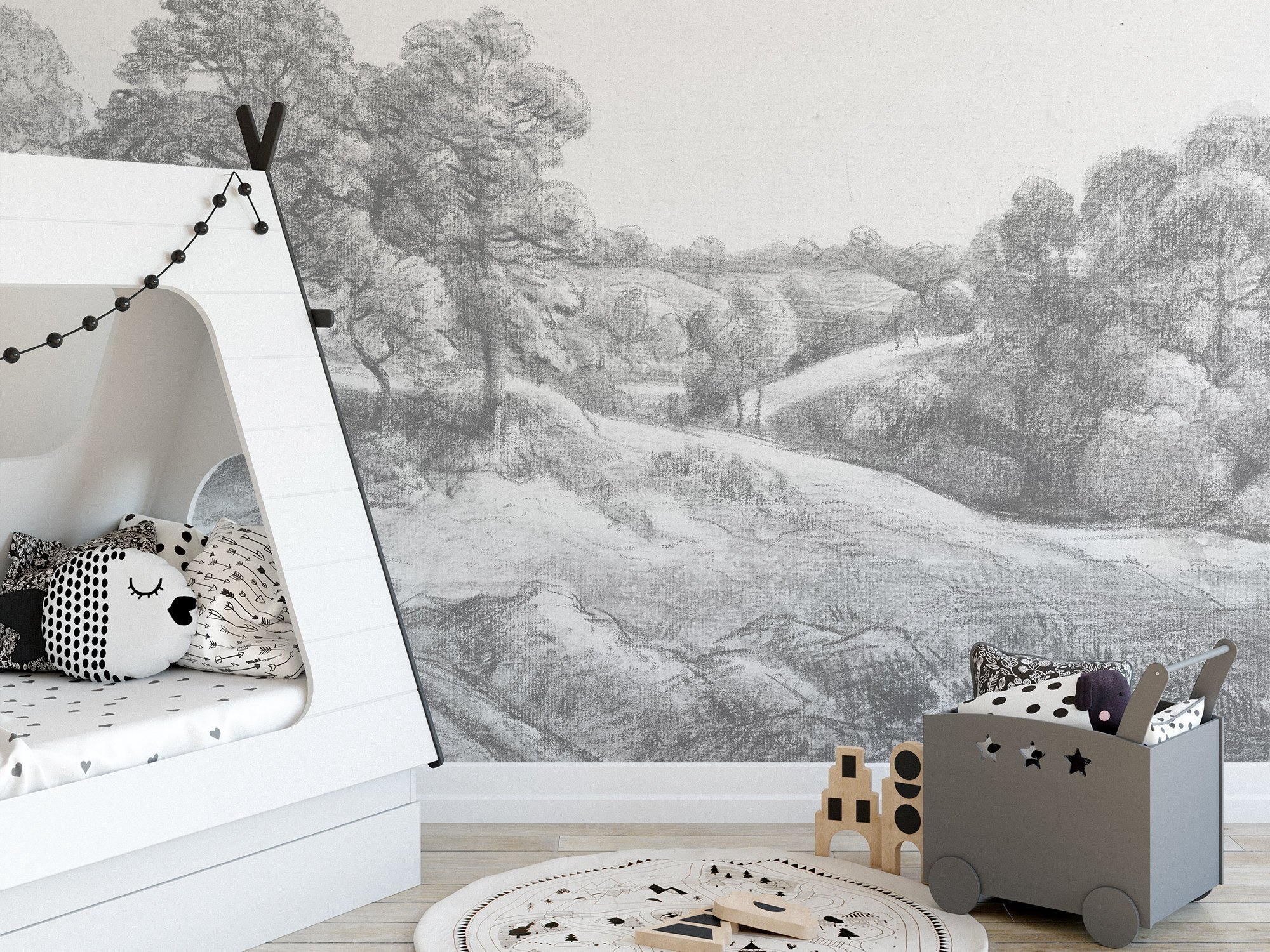 Grey Mural Wallpaper Removable Trees Countryside Landscape Self Adhesive Nursery Childrens Rooms Temporary Drawing Katie Considers