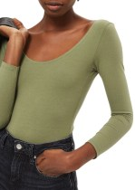 Topshop Stretch Cotton Long Sleeve Bodysuit green