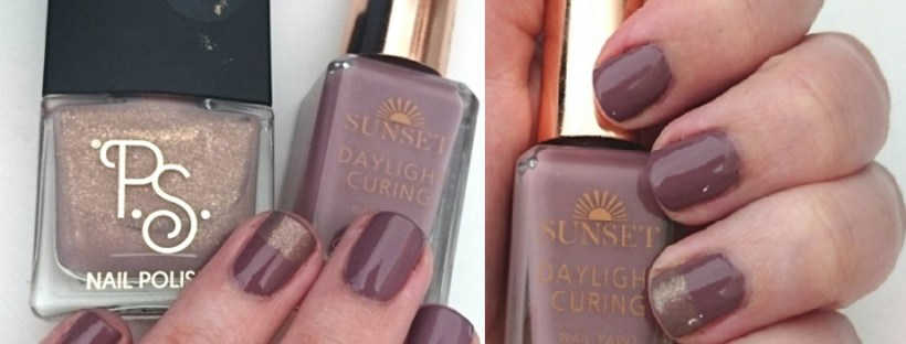 Nails of the Day Barry M Sunset Nails Dark Side of the Shroom and Primark Nail Polish Nude Taupe Nails