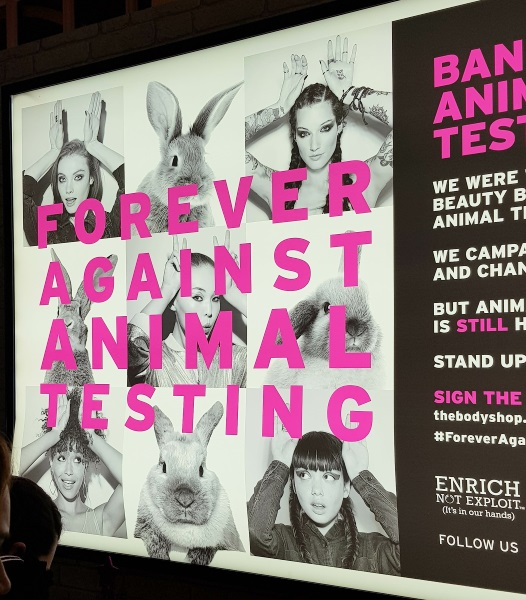 The Body Shop Forever against animal testing sign