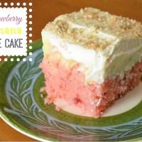 Strawberry Banana Poke Cake