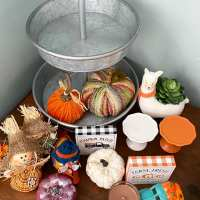 Farmhouse Tiered Tray Fall Decor