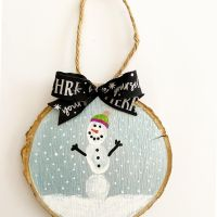 Thumbprint Snowman Wood Chip Ornament