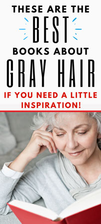 image of woman reading gray hair books