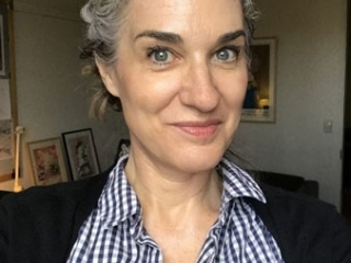 image of woman at 6 and a half months gray hair transition