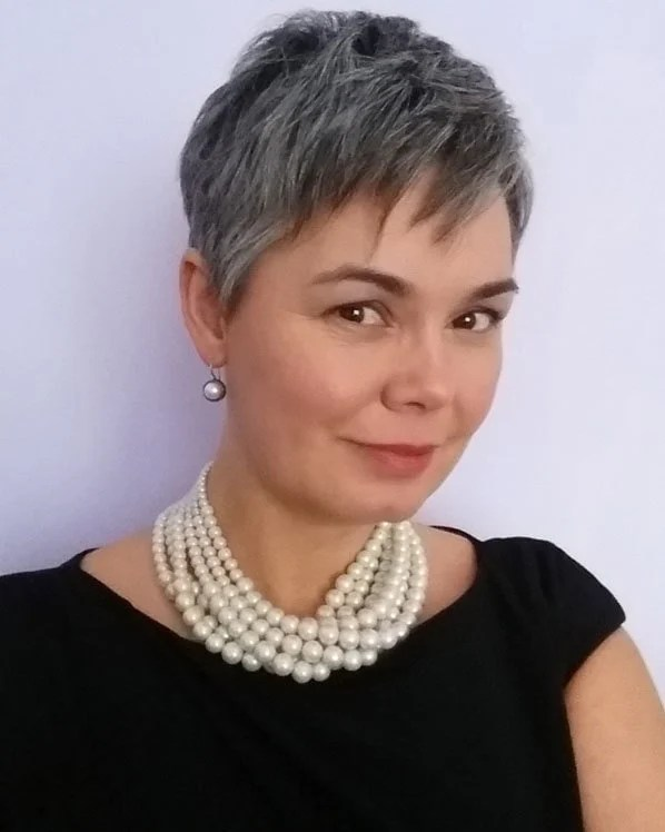 image of pretty woman pearls gray pixie how to go gray