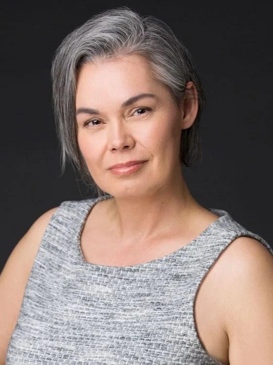 pretty woman gray tank top gray hair