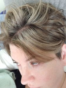 root growth highlights short gray hair