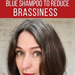 image of woman showing how blue shampoo reduces brassiness in brunette hair