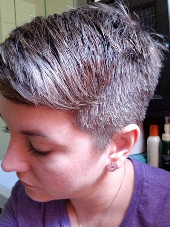 woman with calico gray hair pixie