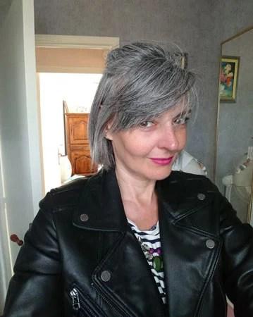 image of woman bobbed gray hair