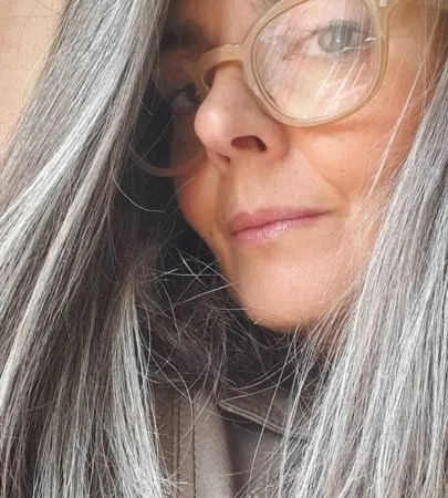 image of woman long gray hair