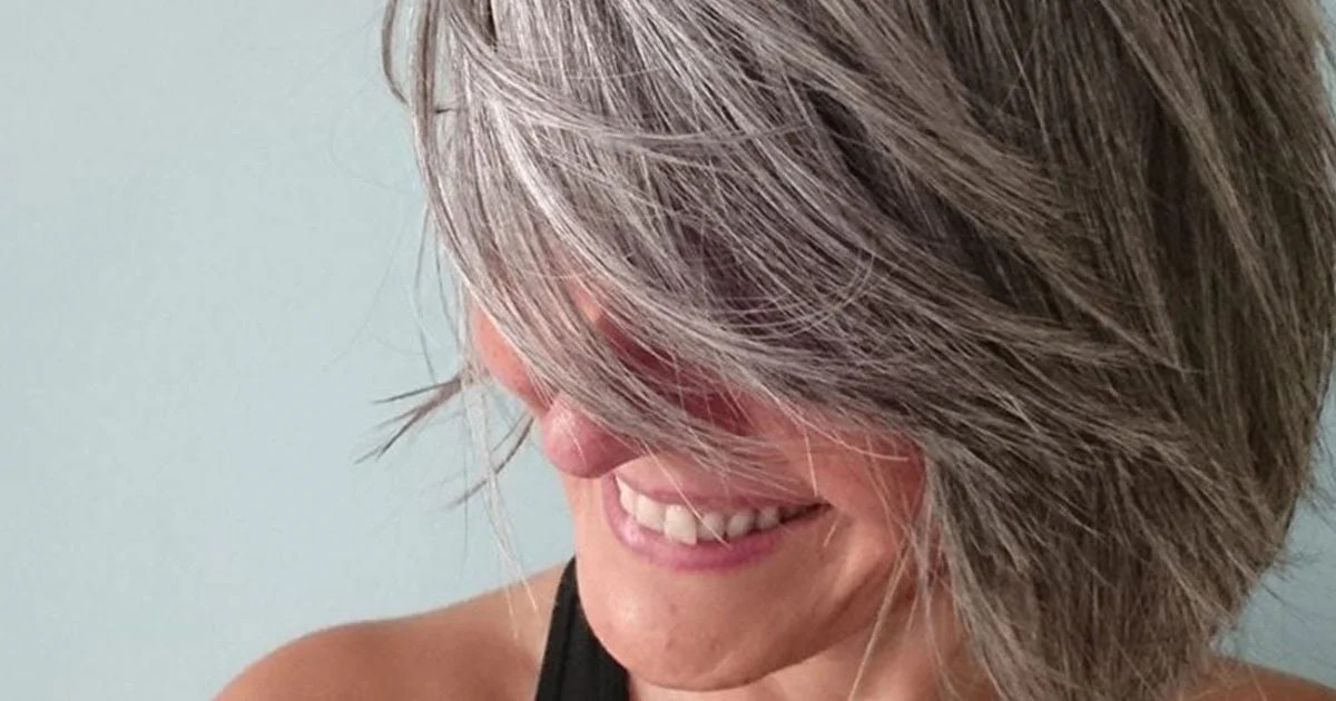 image of sexy gray hair woman
