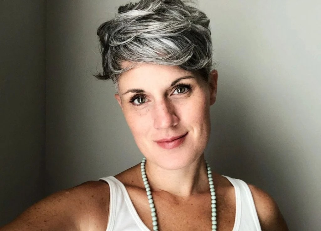 image of woman gray pixie how to go gray from dark hair
