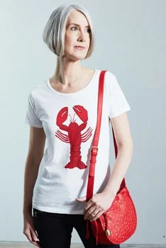 image of woman with bobbed gray hair lobster shirt