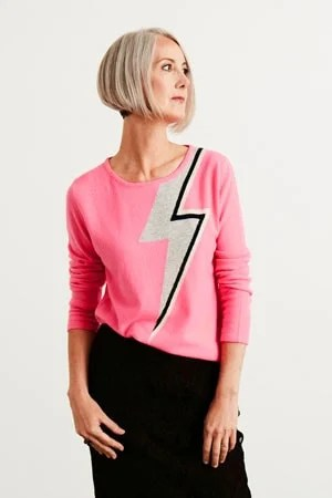 image of woman with pink shirt gray bobbed hair