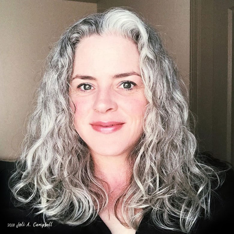 image of pretty woman silver curly hair