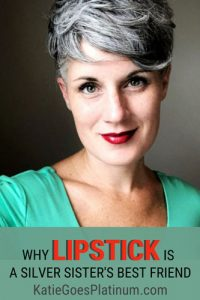 image of woman gray hair lipstick