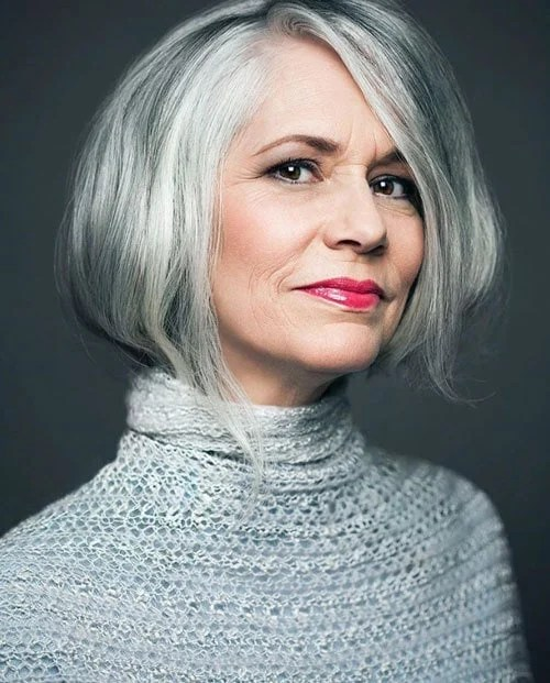 image of woman gray hair gray clothes