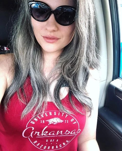 image of woman gray hair and red clothes