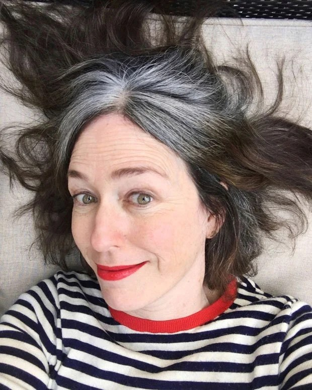 image of katie striped sweater gray roots
