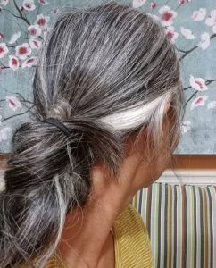 image of long gray ponytail
