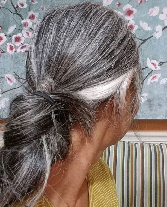 image of long gray ponytail