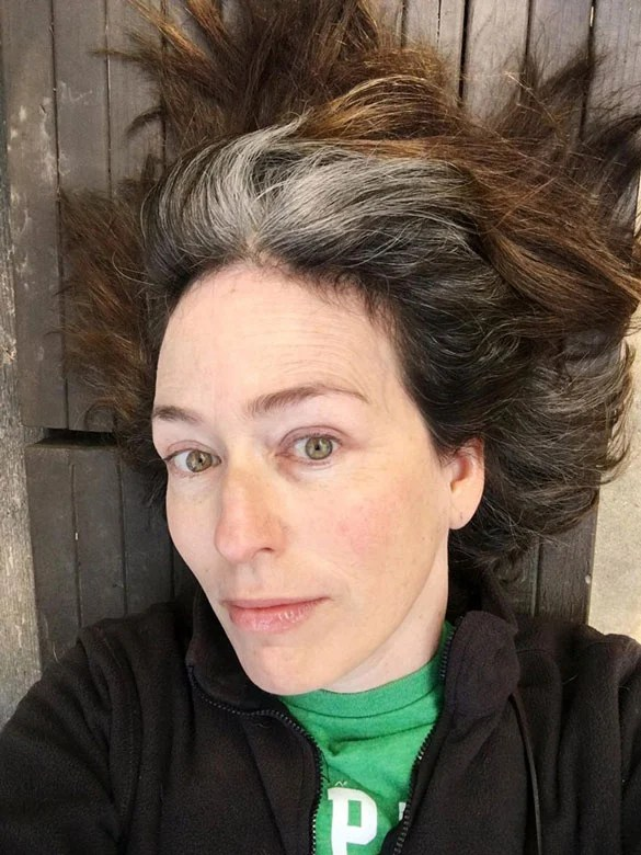 image of woman - 9 months gray hair transition