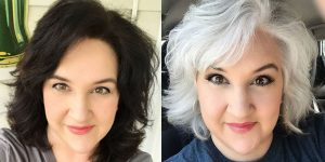 woman going from dark brunette to white hair