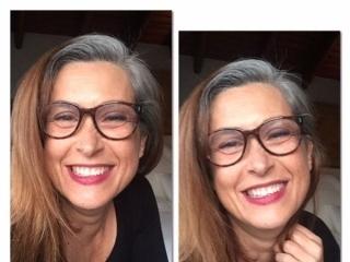 image woman dark hair white roots