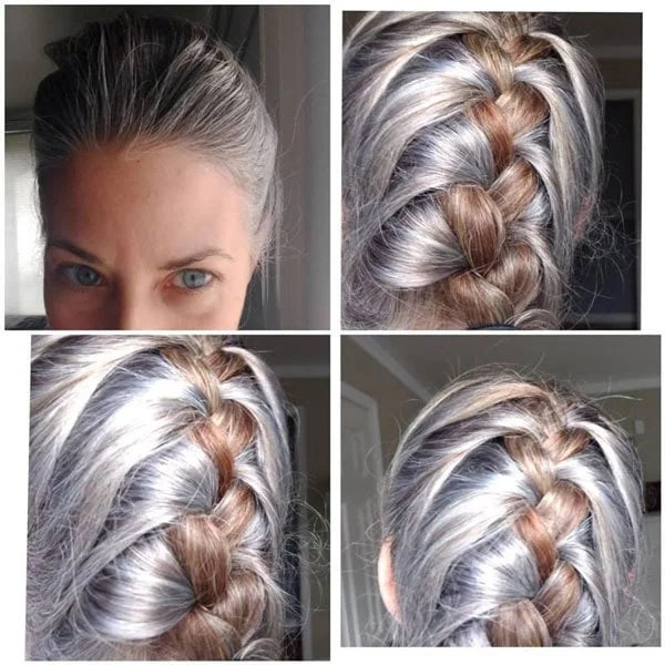 image gray hair blonde hair braids