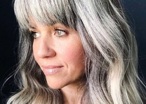 image woman gray hair long