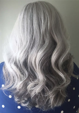 image of lauren stein's lovely gray hair btwco founder