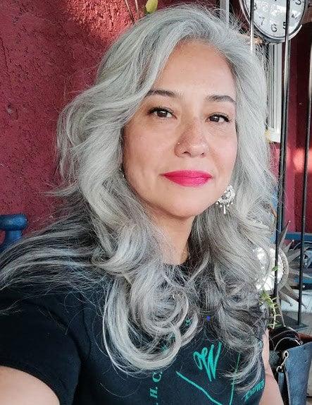 image of latina woman with long gray hair