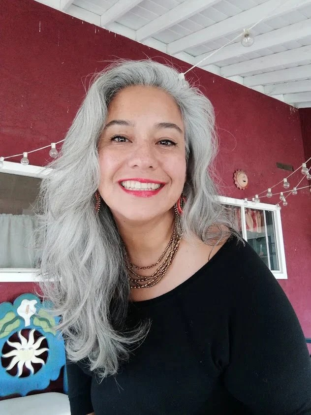 image of latina woman with long gray hair