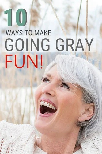 image woman having fun gray hair