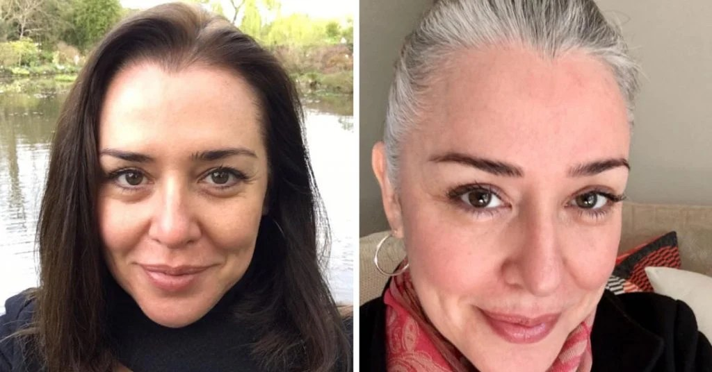 image woman before after going gray
