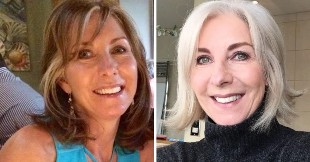 image of woman before after gray hair